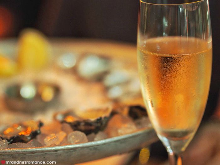 Mr & Mrs Romance - The Morrison, Sydney - champagne and oysters