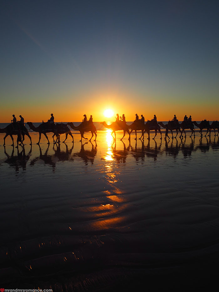 Mr & Mrs Romance - Broome on a Budget - camel train at sunset
