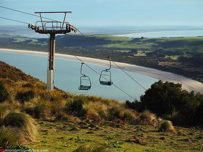 Mr & Mrs Romance - Spirit of Tasmania - chairlift up the Nut