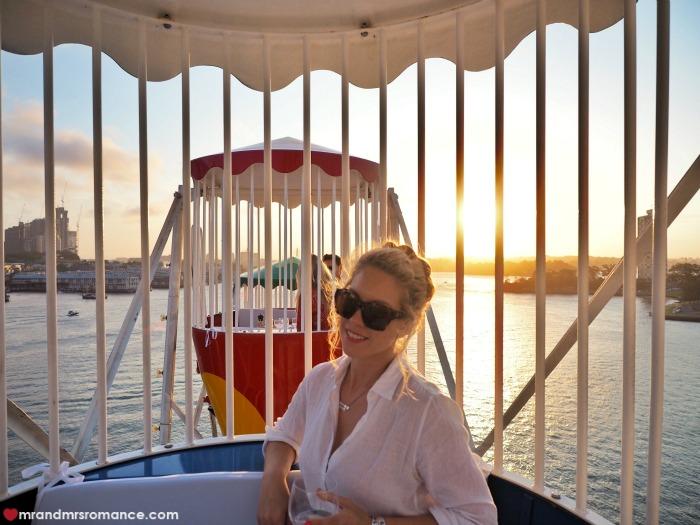 Mr & Mrs Romance - Ferris wheel dining - Mrs R inside carriage