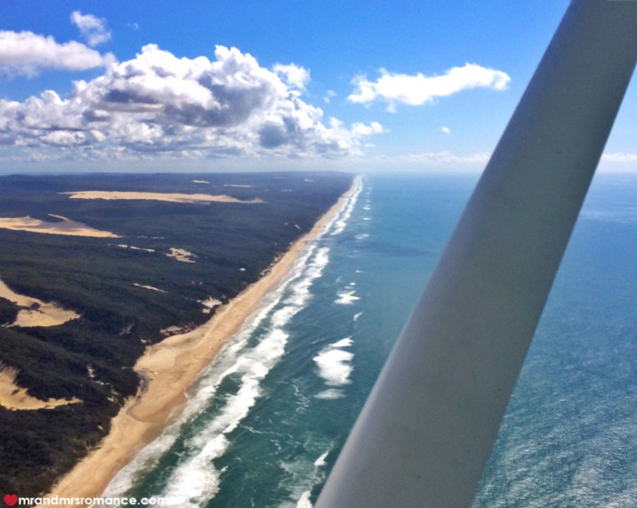 How to take photos from a plane window - Mr & Mrs Romance - Fraser Island