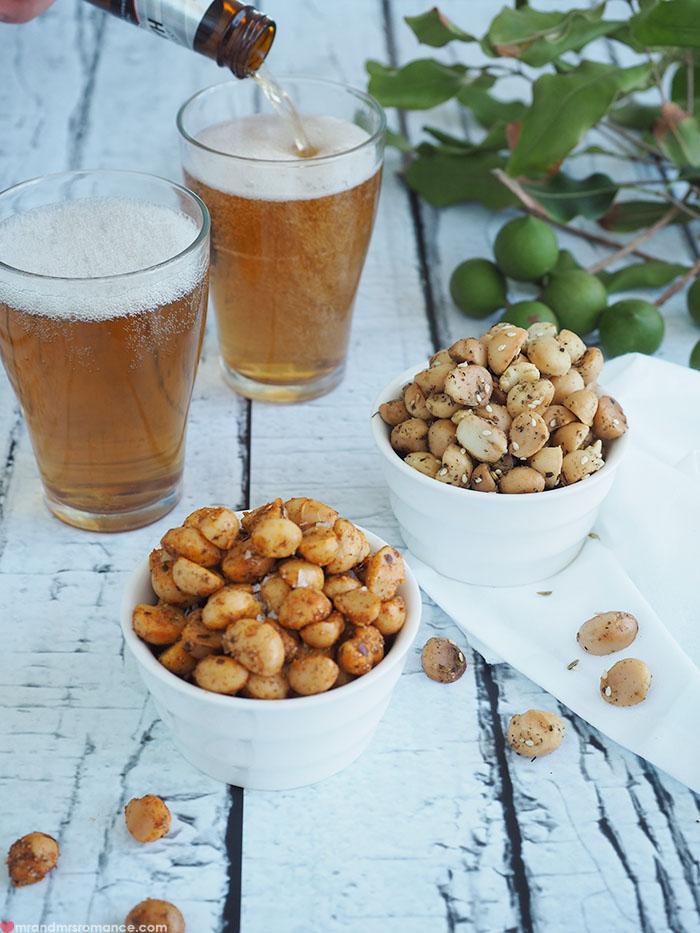 Mr & Mrs Romance - Macadamia snack recipe - perfect beer snacks - pouring