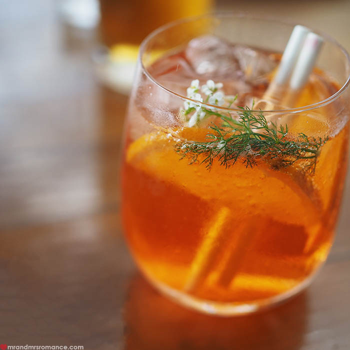 Mr & Mrs Romance - IG Edition - Aperol myrtle spritz - Three Blue Ducks, The Farm Byron Bay