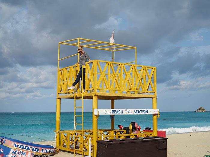 Mr and Mrs Romance - Postcards from Okinawa Japan - Okuma Beach tower