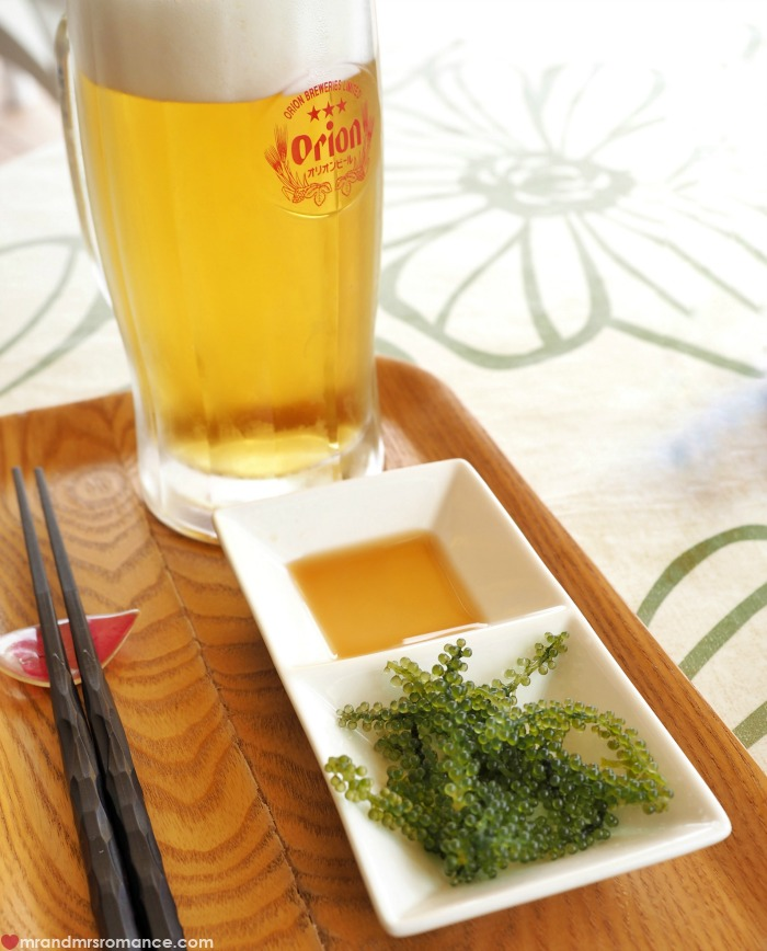 Mr & Mrs Romance - where locals eat in Okinawa - beer and sea grapes