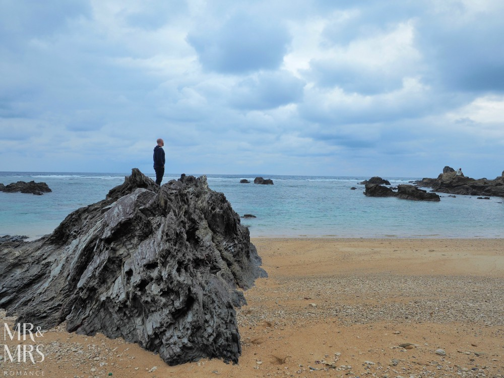 Power Spots, Okinawa, Japan - Mr & Mrs Romance - Mr R on beach rock
