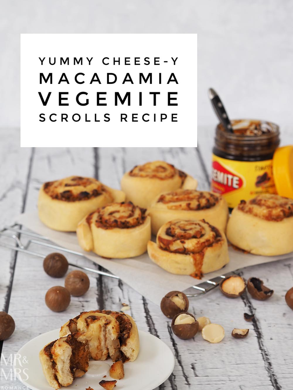 Cheese Macadamia Vegemite scrolls recipe - Mr & Mrs Romance