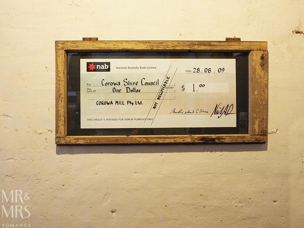 Australian whisky - Corowa Distillery NSW checque - MMR