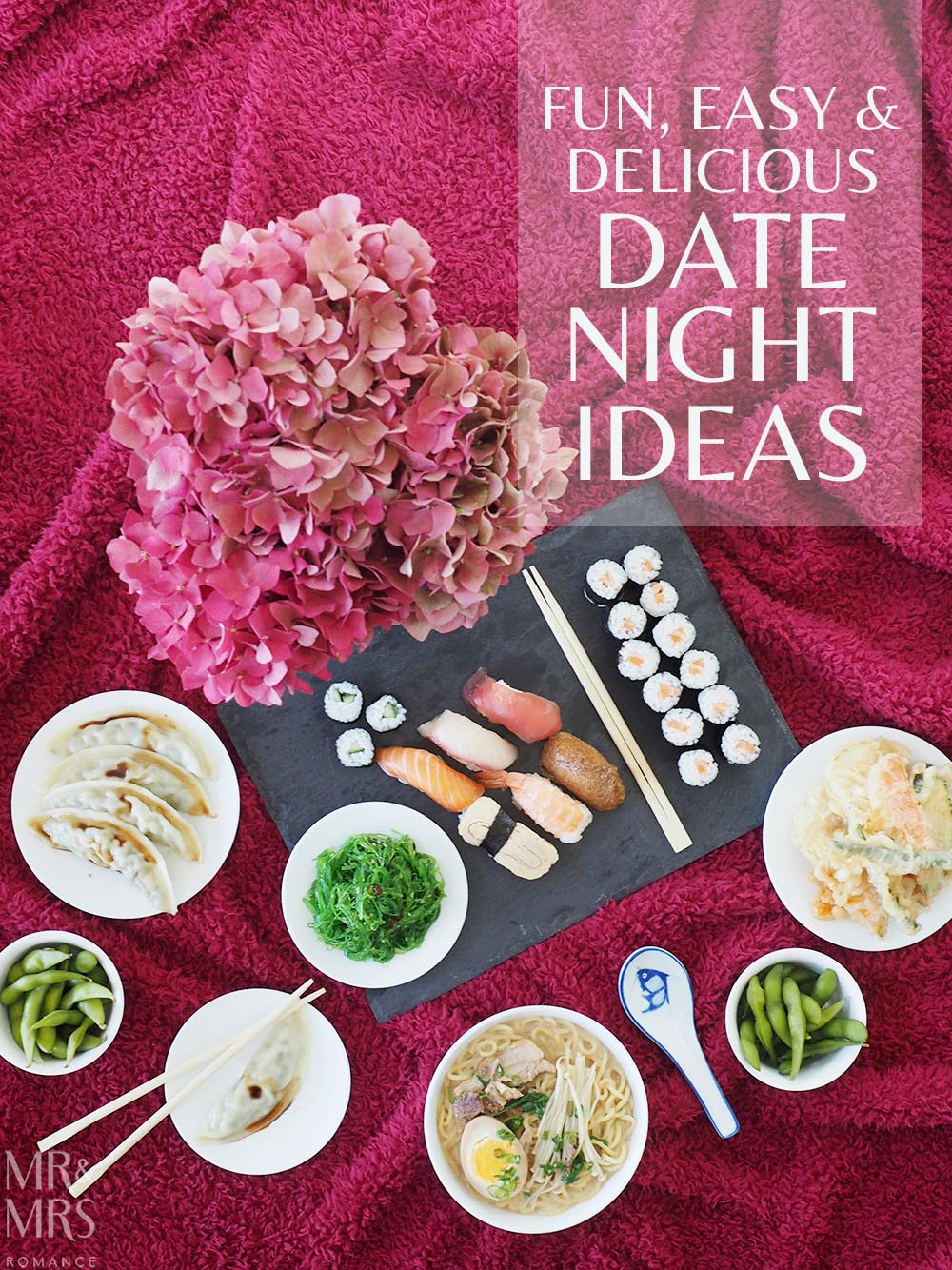 Uber Eats date night - Mr and Mrs Romance title
