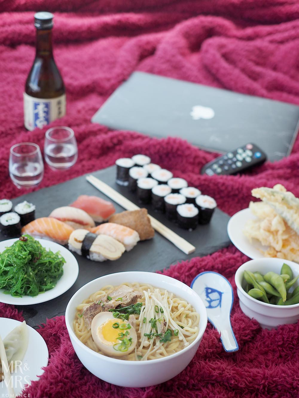 Uber Eats date night - Mr and Mrs Romance sake