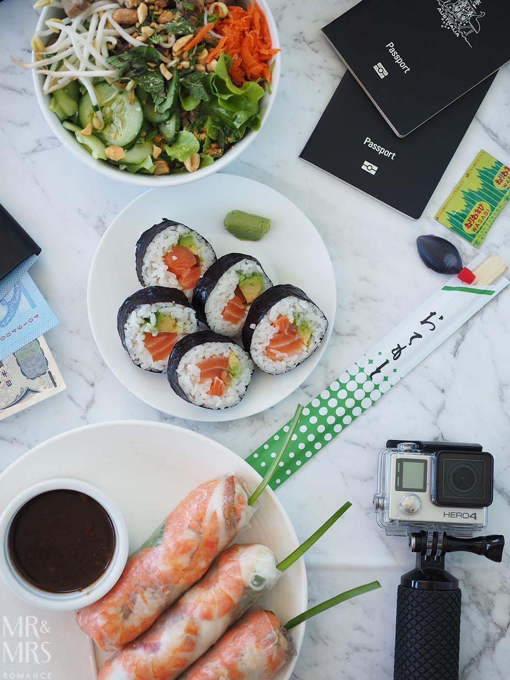 Uber Eats sushi summer rolls salad - how to fight post-holiday blues - MMR