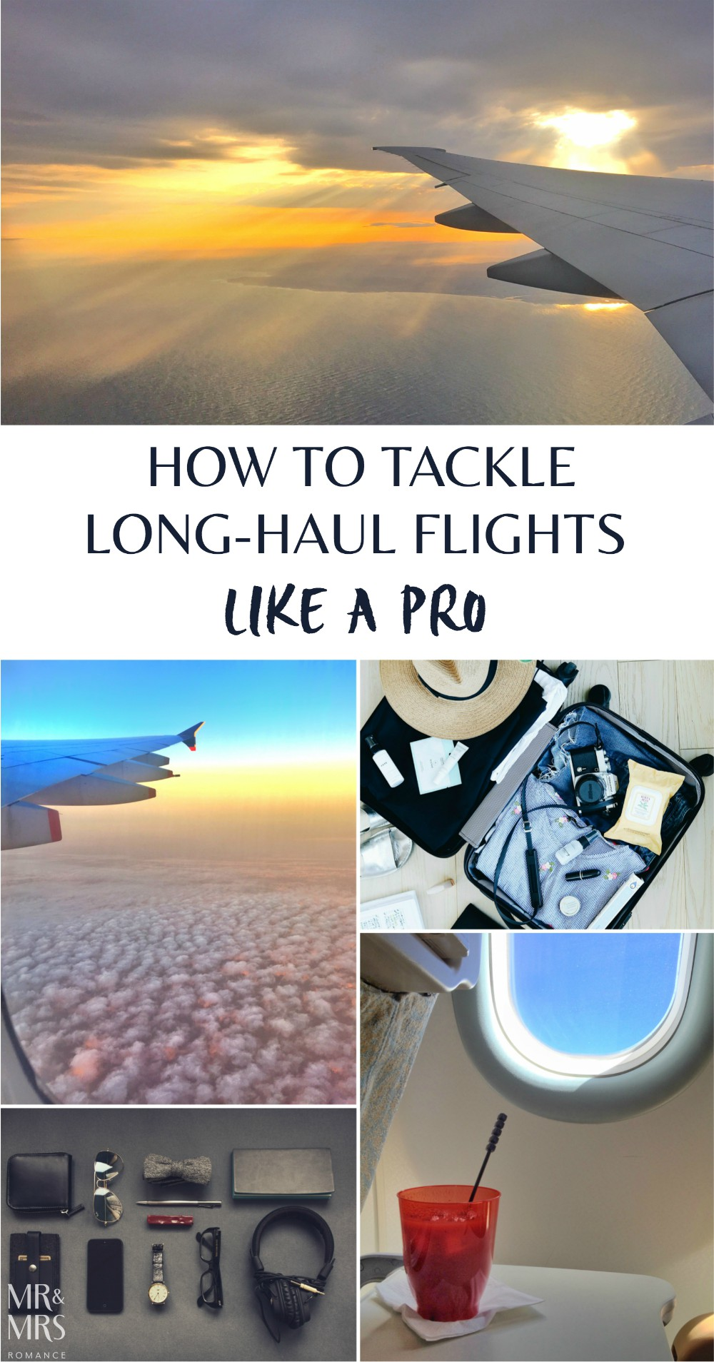 Long-haul flight tips - Mr and Mrs Romance - title
