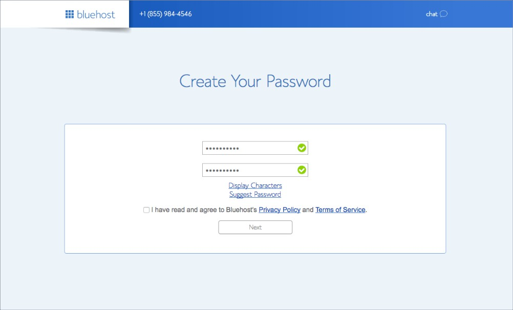 Bluehost how to start a blog - password