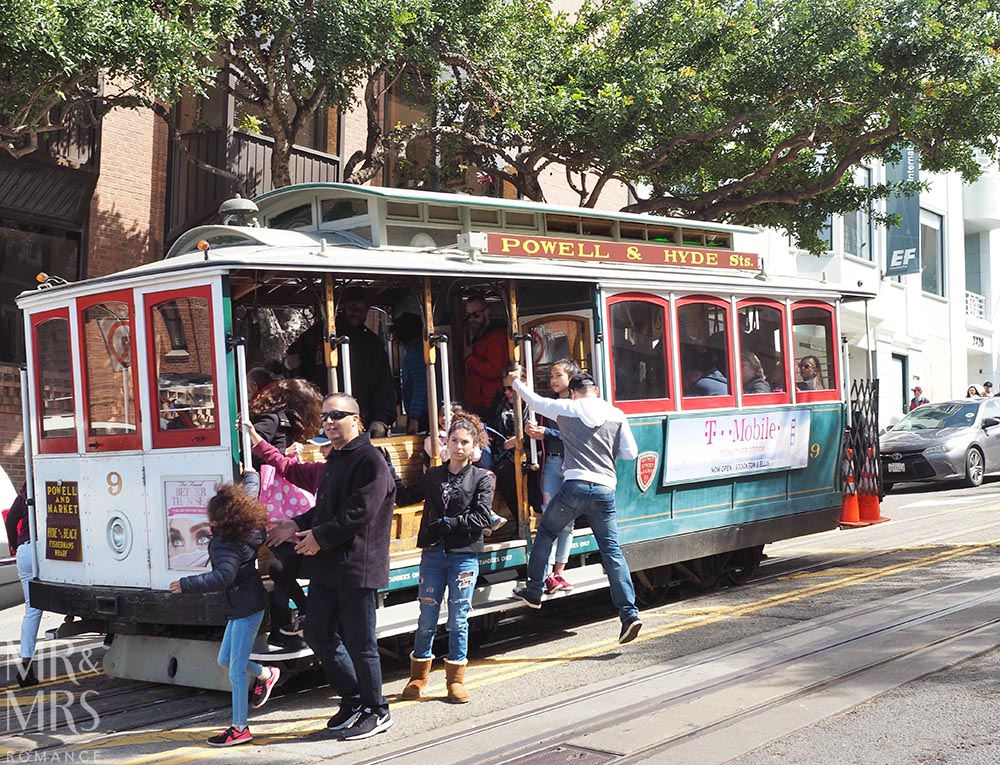 San Francisco streetcar California Line - boarding