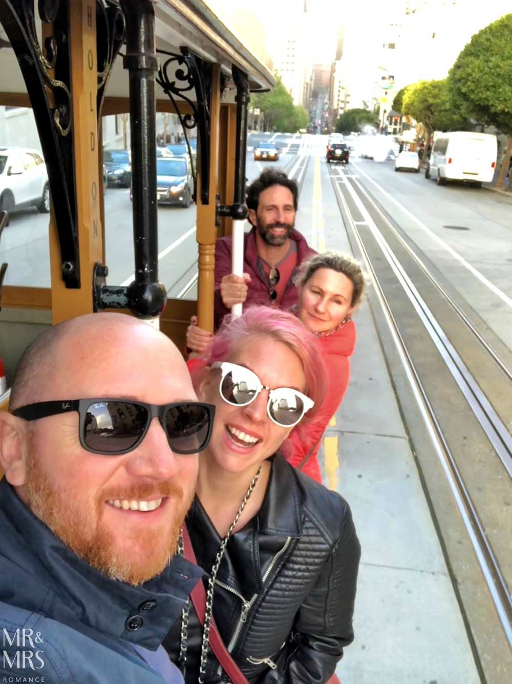 San Francisco streetcar California Line - selfie