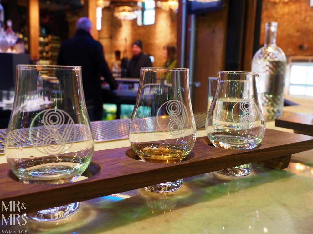 Where to eat in Toronto - Spirit of York Distillery flight