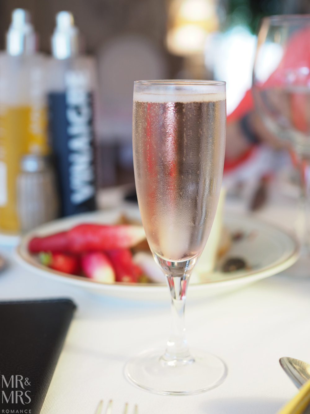 Violet Prosecco at Restaurant Beau Sejour Gorbio - Mr & Mrs Romance