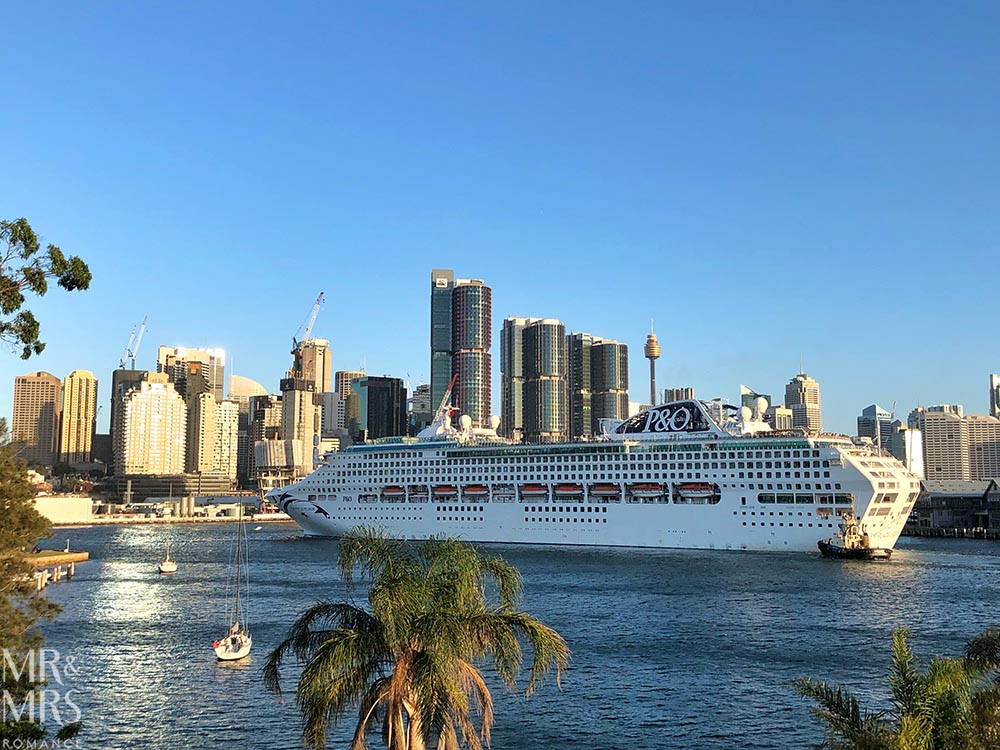 Sydney Harbour cruise ship leaving