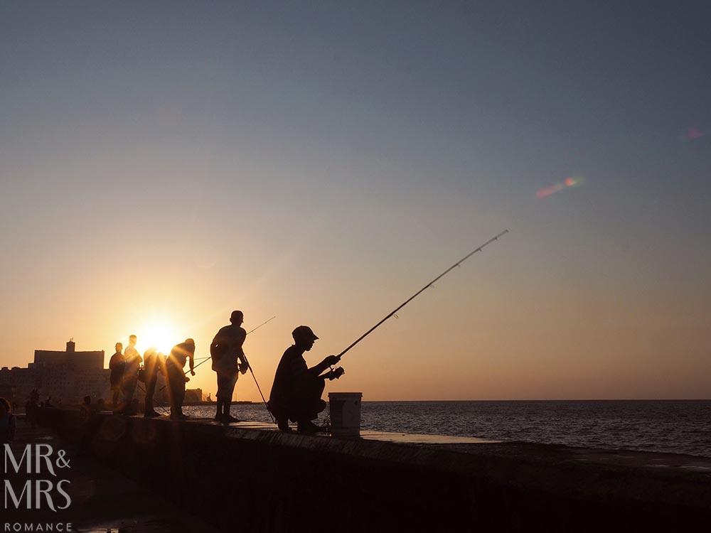 Fishermen at the Malecon Havana Cuba