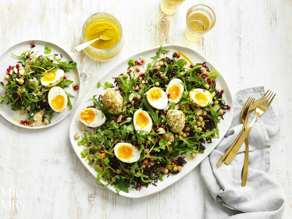 Valentine's Day recipes - Australian Eggs grain and pomegranate salad