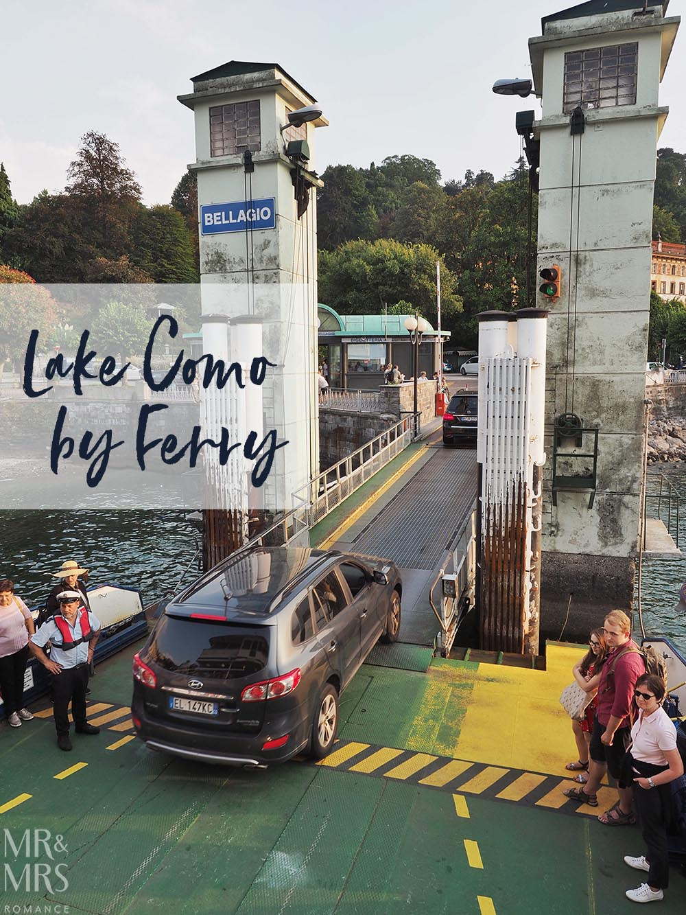 Local ferry at Bellagio with car coming off and pedestrian passengers waiting - Ultimate Guide to Lake Como, Italy