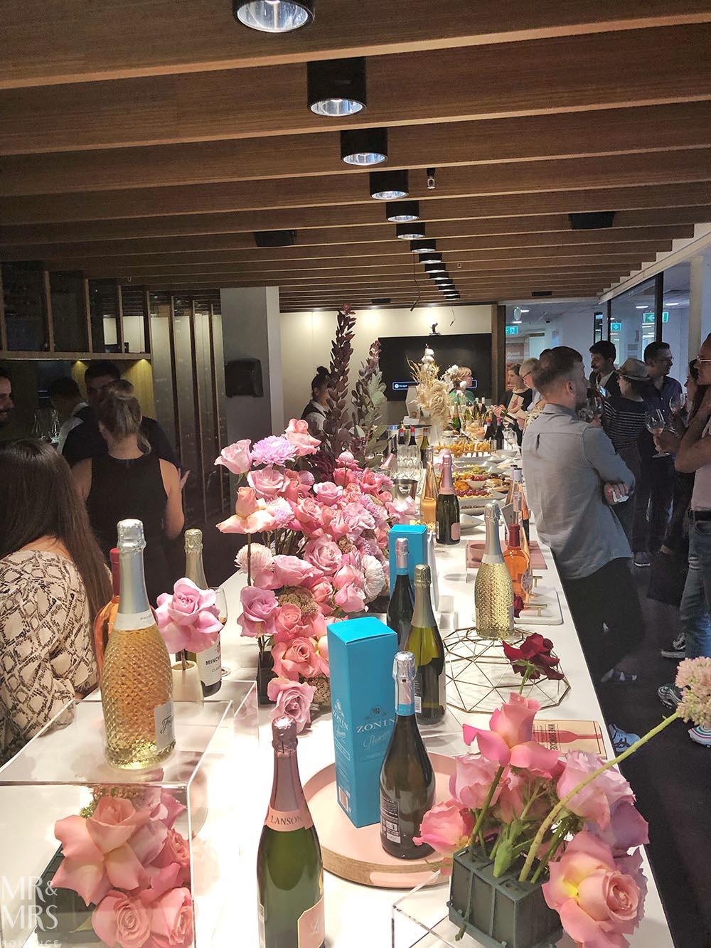 Wine and flowers at Pinnacle Drinks