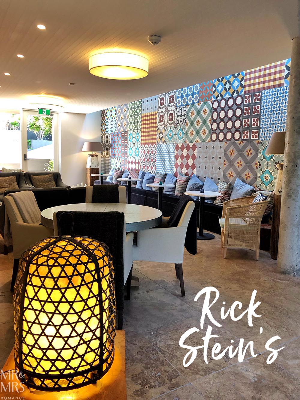 Rick Stein at Bannisters Mollymook, NSW - lounge and lamp