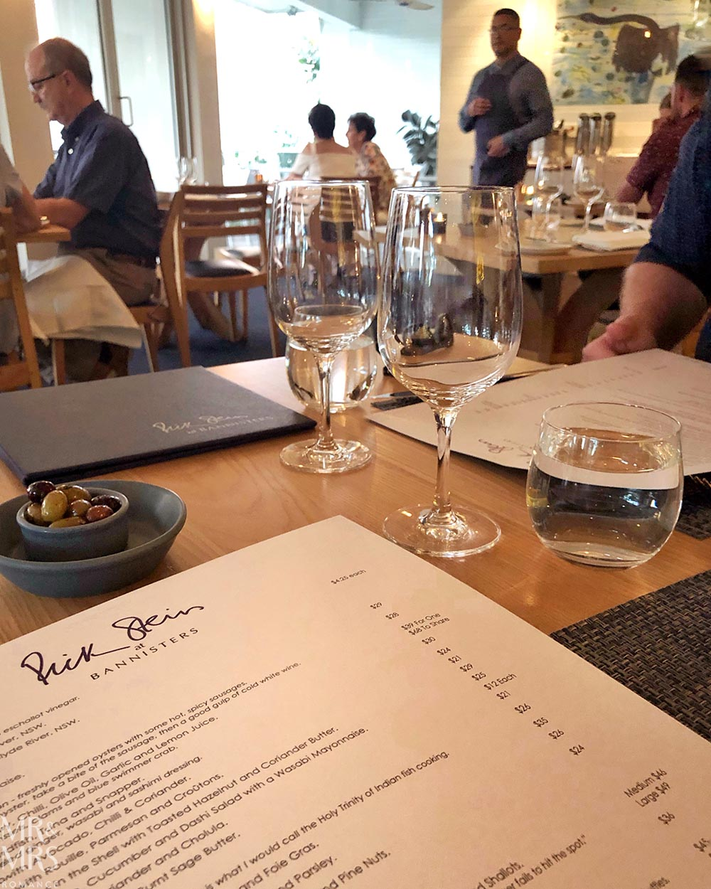 Rick Stein at Bannisters Mollymook, NSW - menu and interior