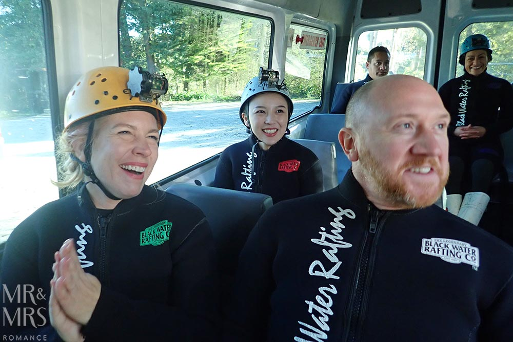 New Zealand Waitomo glowworm cave and Blackwater Rafting bus