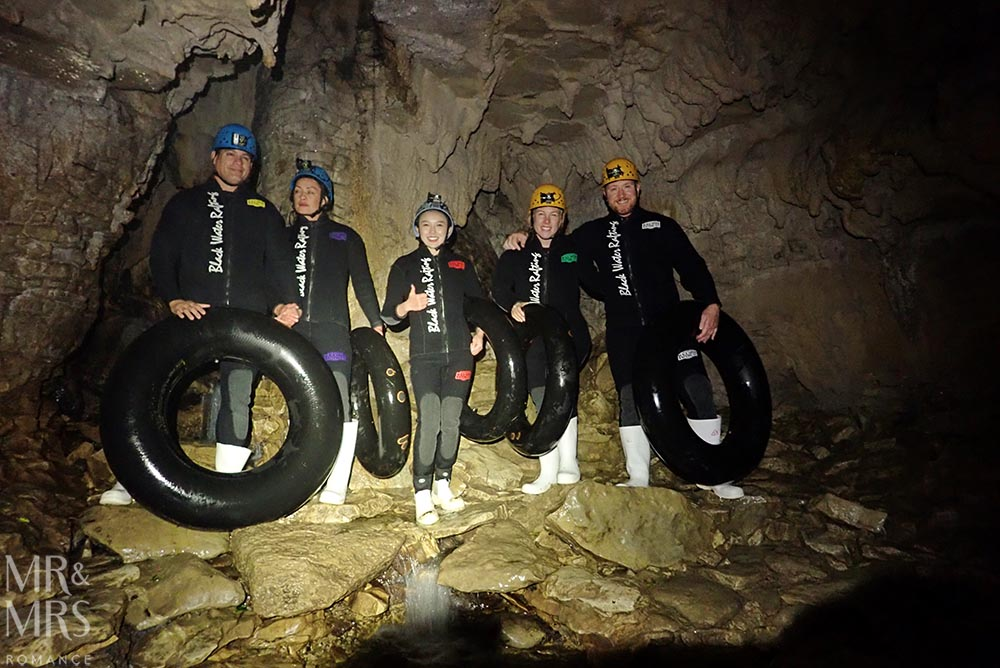 New Zealand Waitomo glowworm cave and Blackwater Rafting group shot