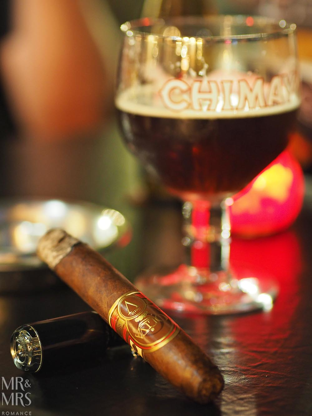 Bruges, Belgium - cigar and beer