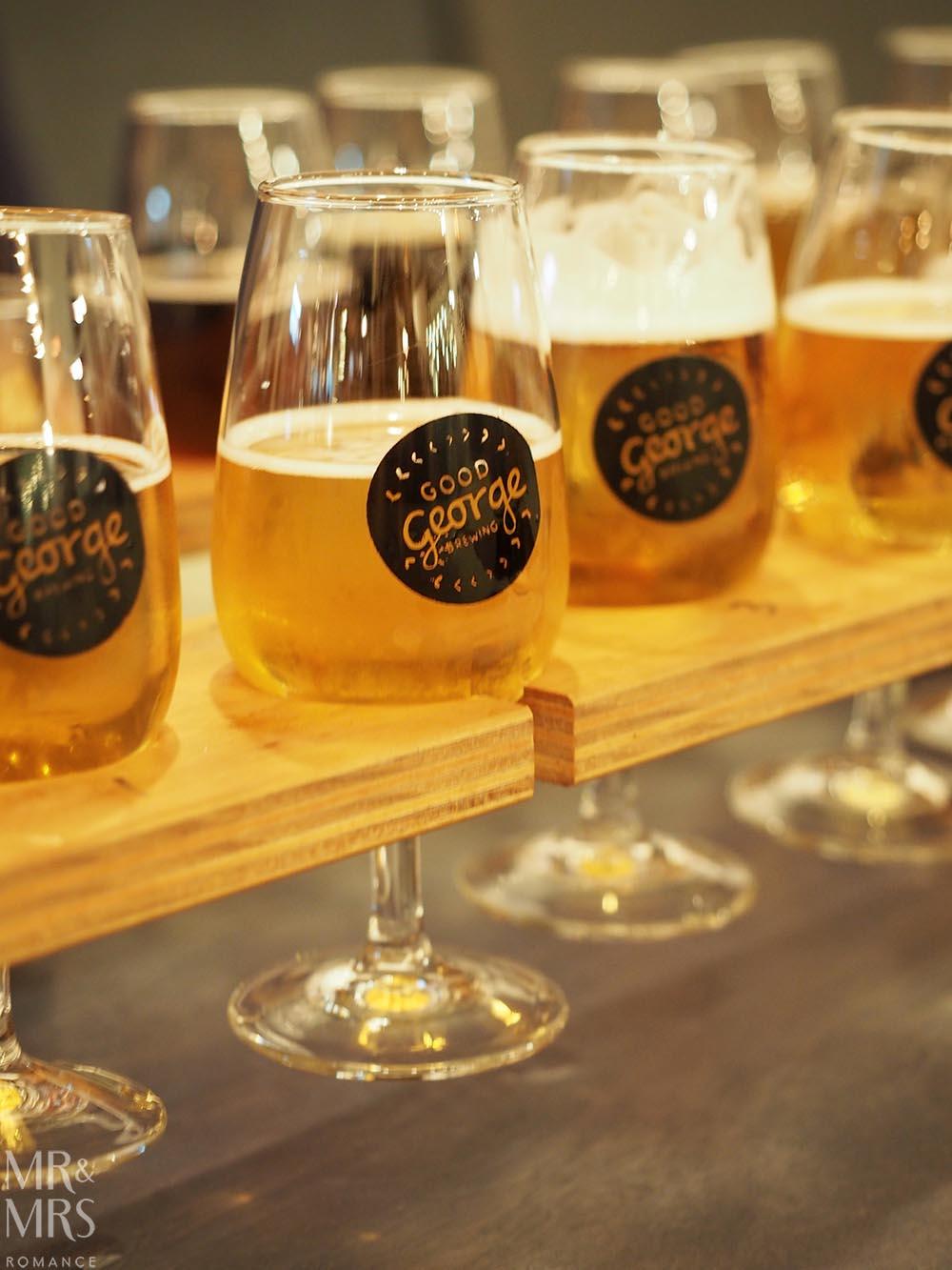 Good George Brewing, Hamilton, New Zealand - beer tasting