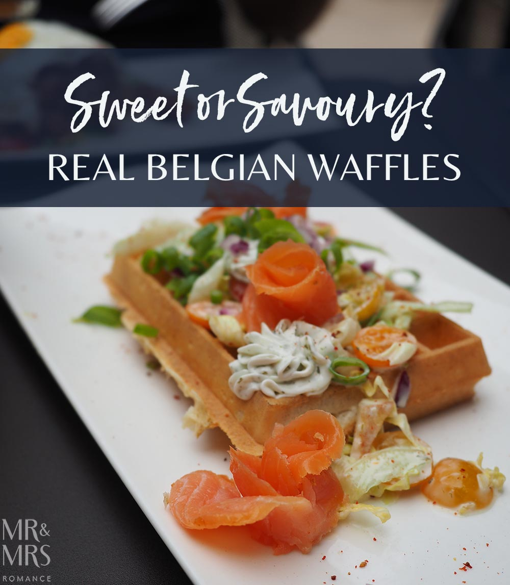savoury belgian waffles with smoked salmon
