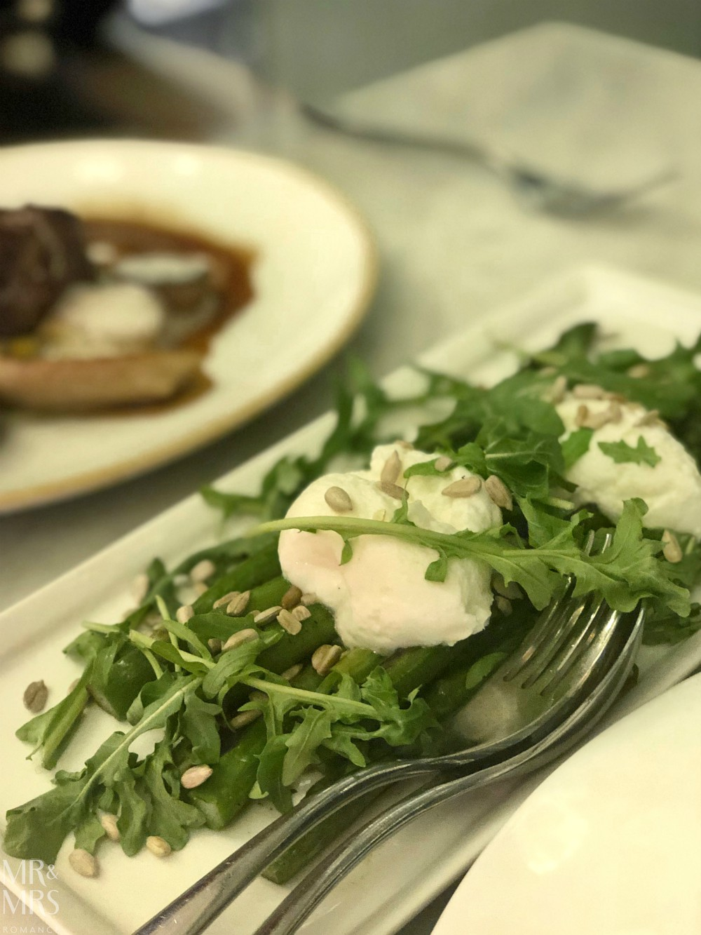 Q Dining - asparagus and goat cheese side