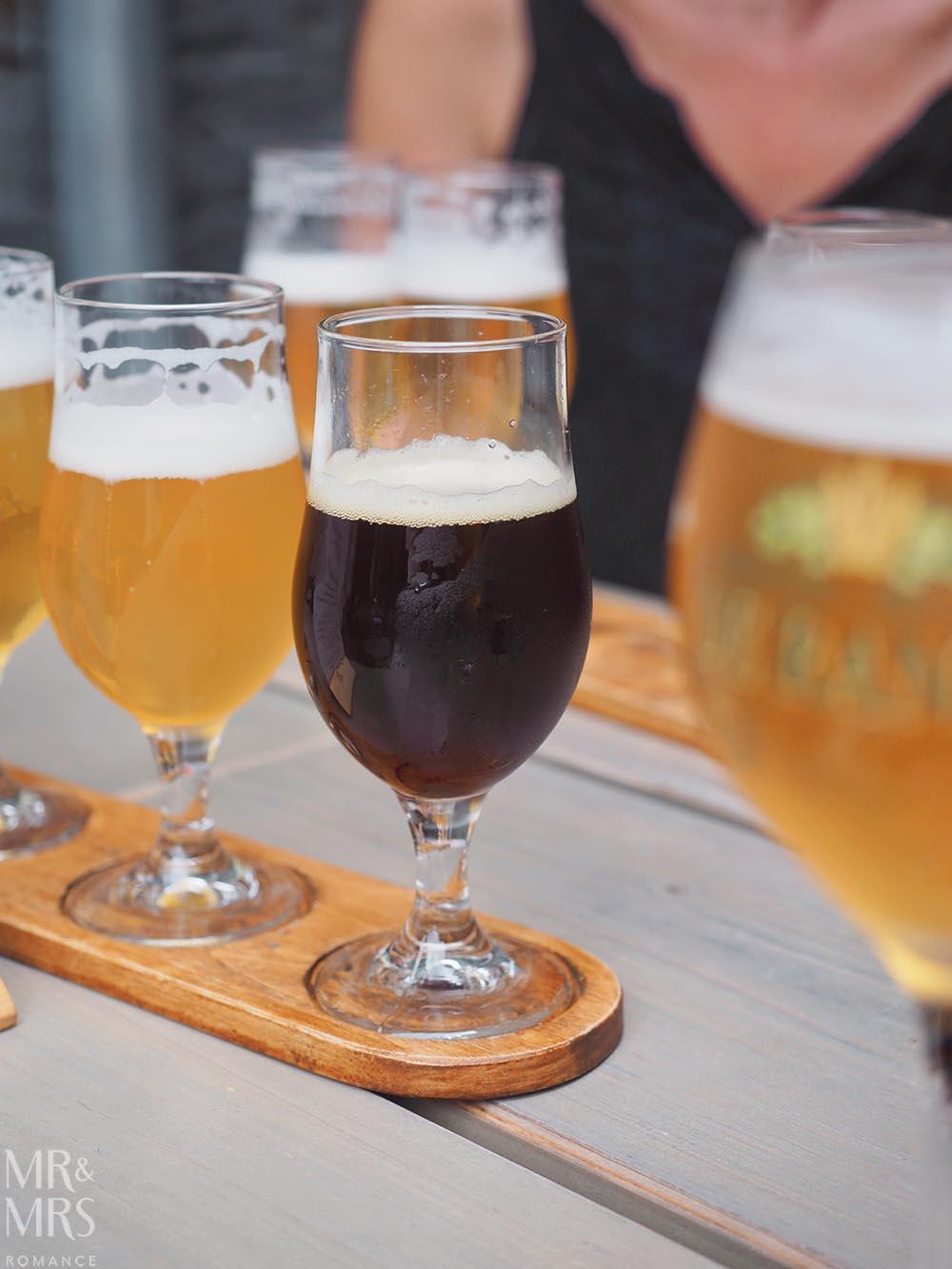 Where to drink in Bruges - Belgian beers - tasting paddle