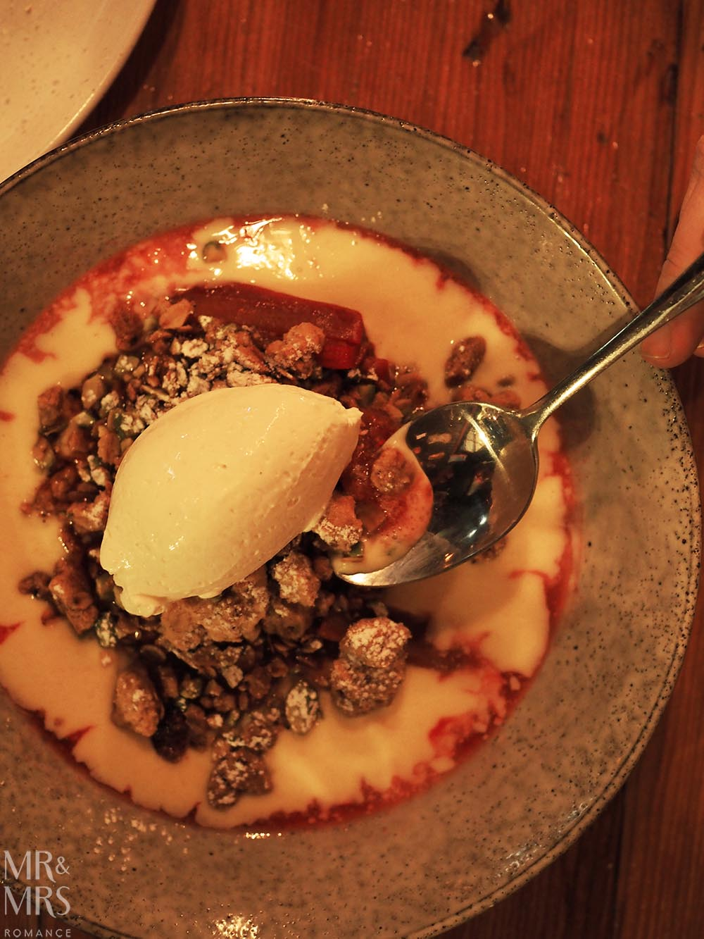 Where to eat in Maitland, NSW - The Rigby - rhubarb crumble