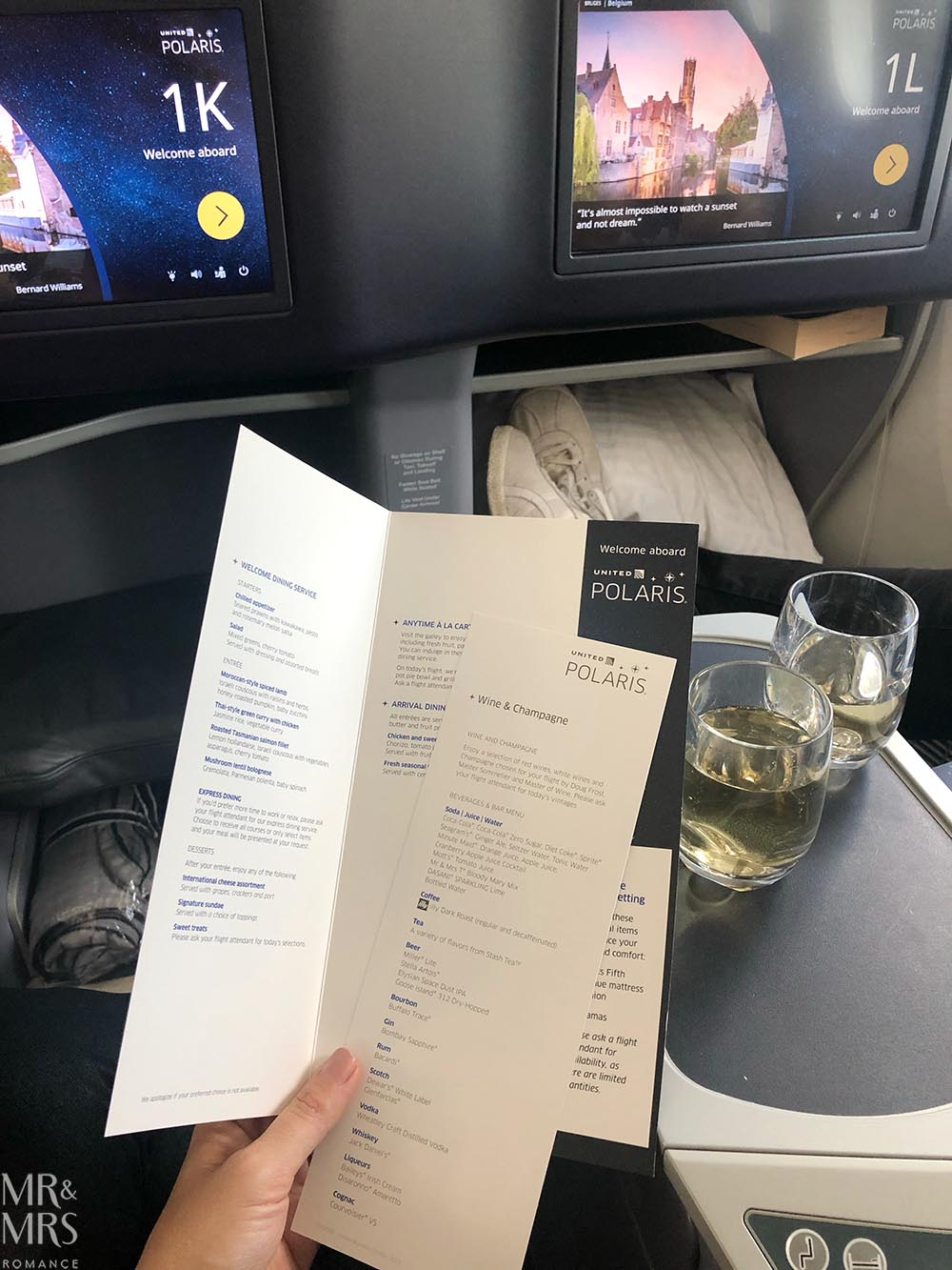 United Airlines business class United Polaris review - the menu