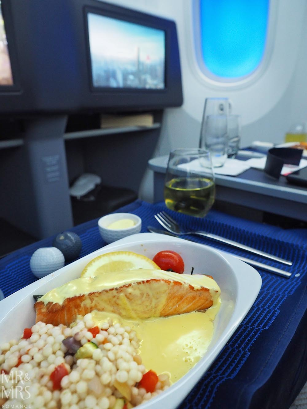 United Airlines business class United Polaris review - salmon fillet main