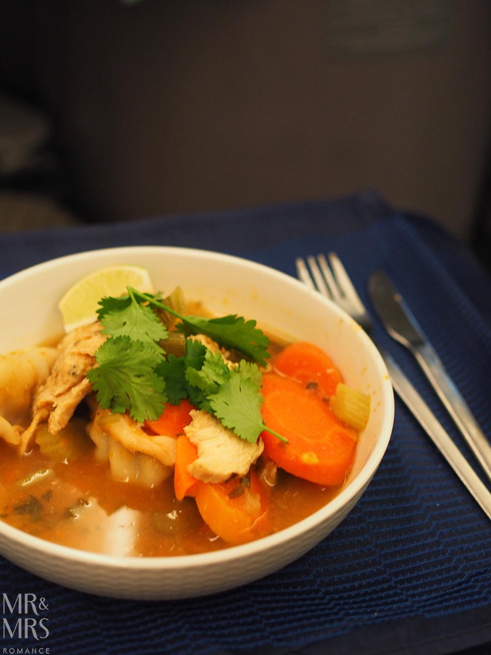 United Airlines business class United Polaris review - ginseng chicken bowl main