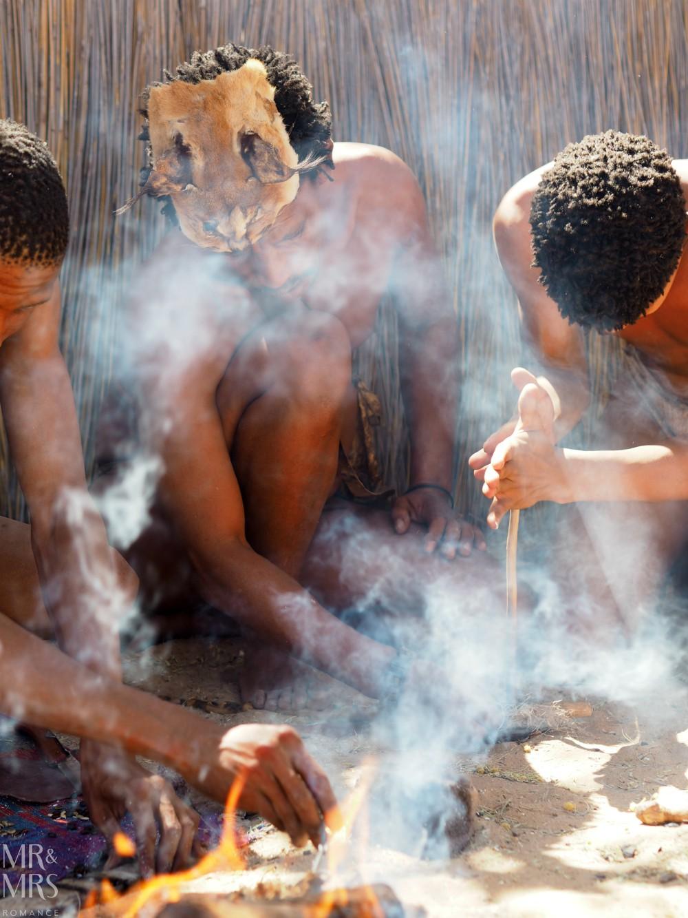 Visit South Africa - Kalahari Bushmen making fire