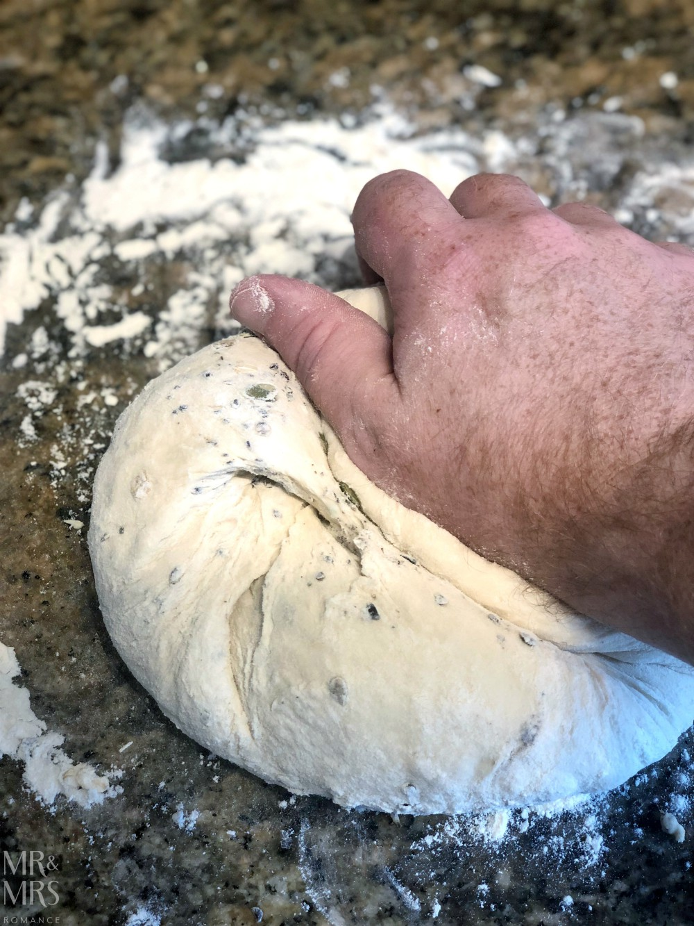 Home-made bread recipe - kneading dough