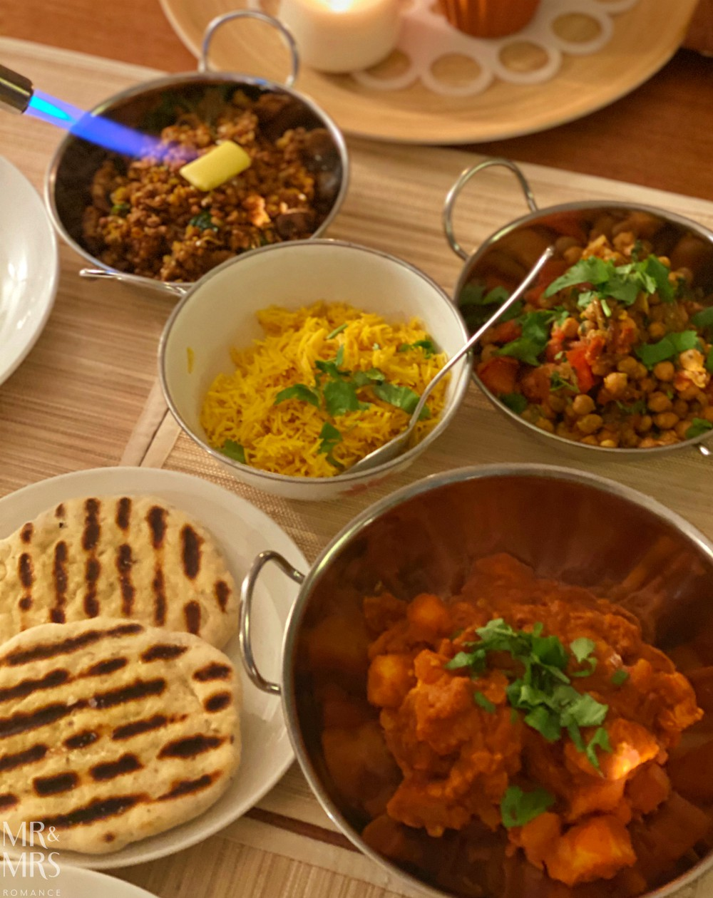 Saag tarka dhal or tarka dal - with other curries