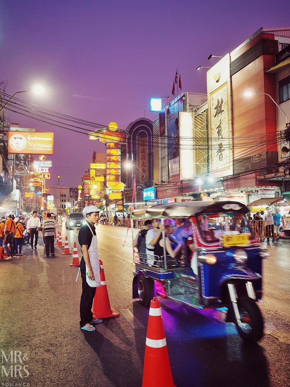 Yoawarat - Bangkok Chinatown - narrow streets and packed tuktuks