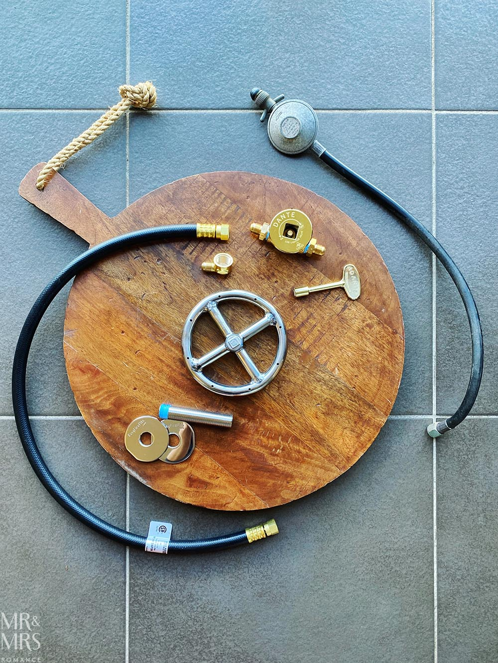 DIY balcony gas fire pit all the parts