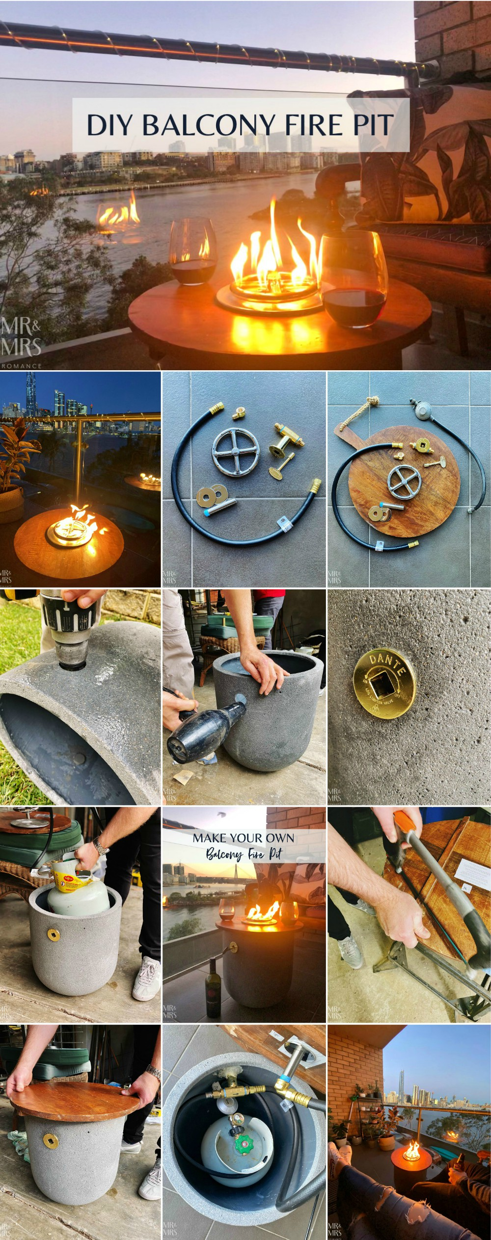 How to make your own gas fire pit balcony
