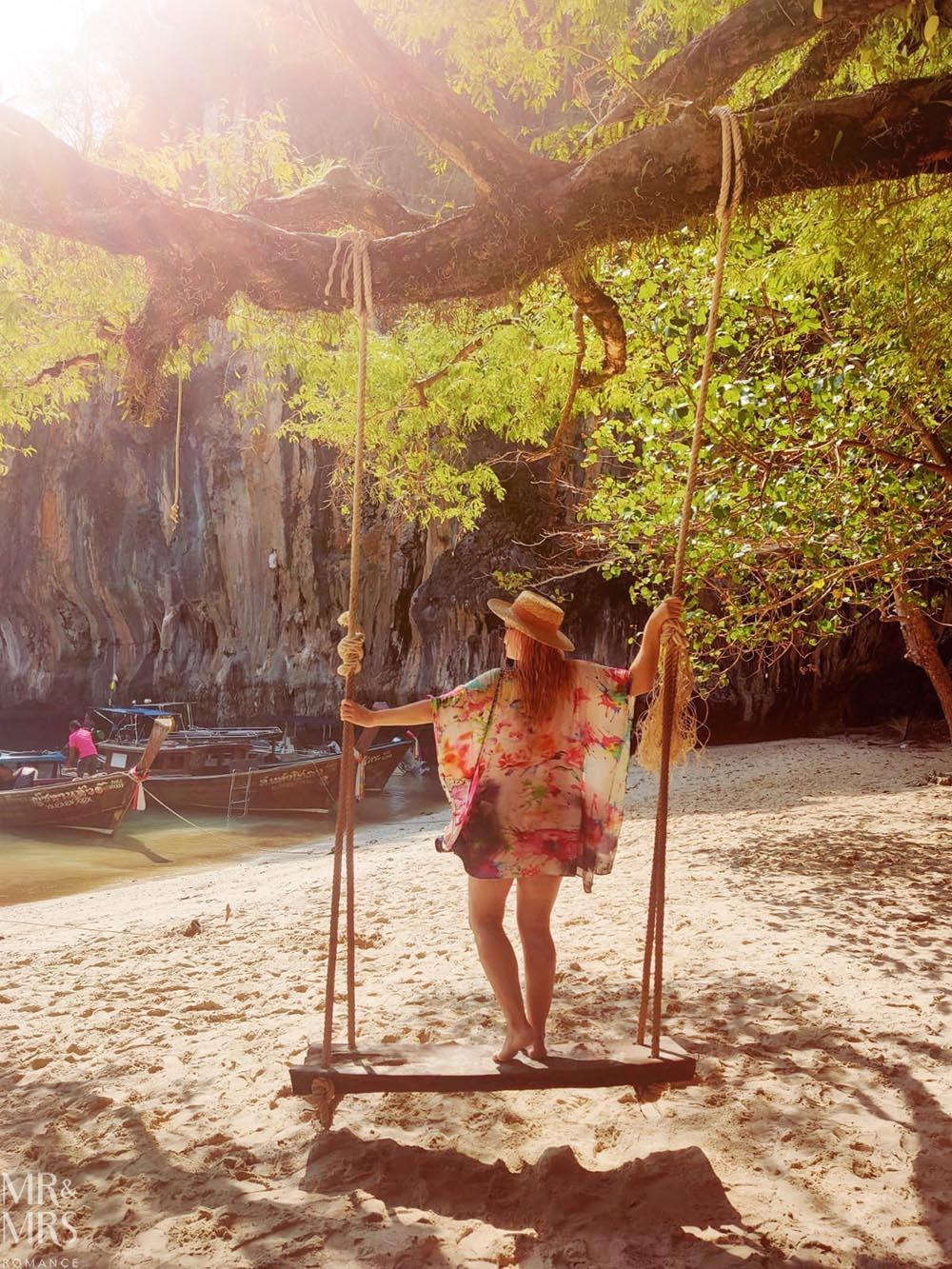 Island-hopping Krabi, Thailand private speedboat Ko Lao Lading beach swing