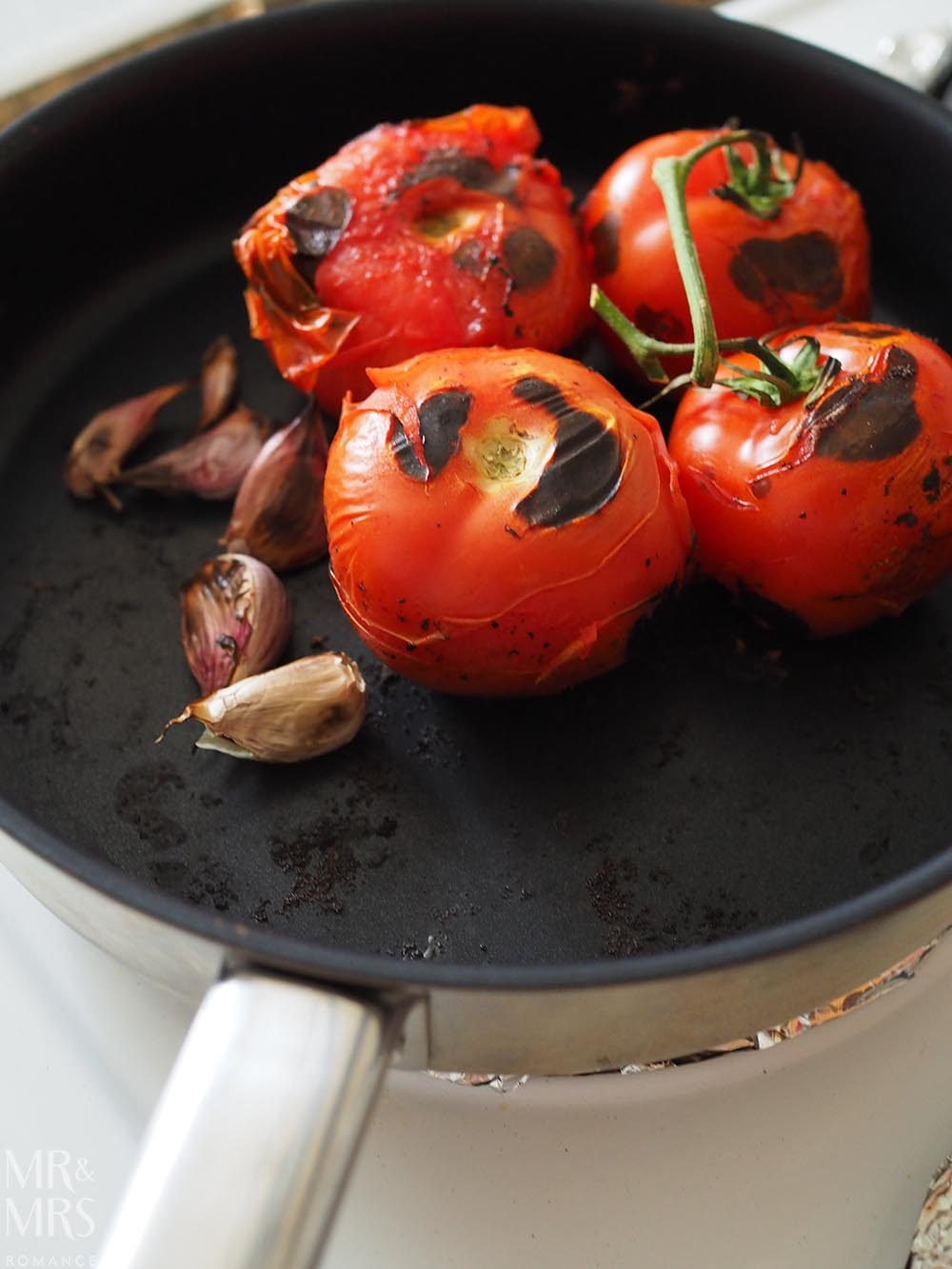 Carne con chilli recipe - Rick Stein Mexican food - charring tomatoes and garlic