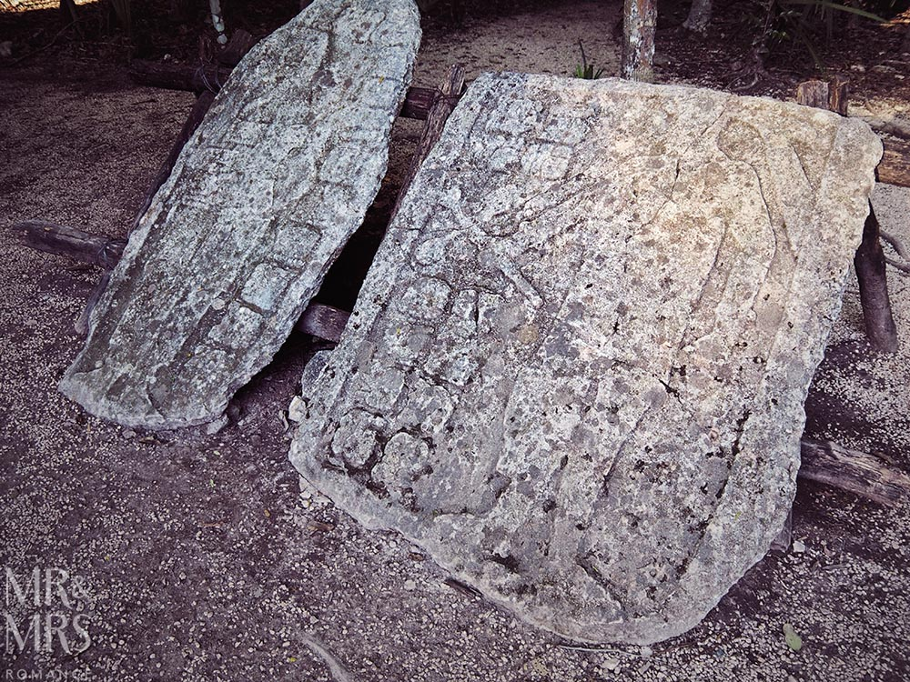 Mayan ruins in Mexico - carved stone tablets