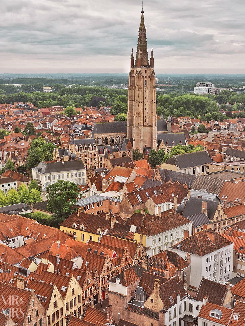 Postcards from Bruges, Belgium - view of city from the Belfry