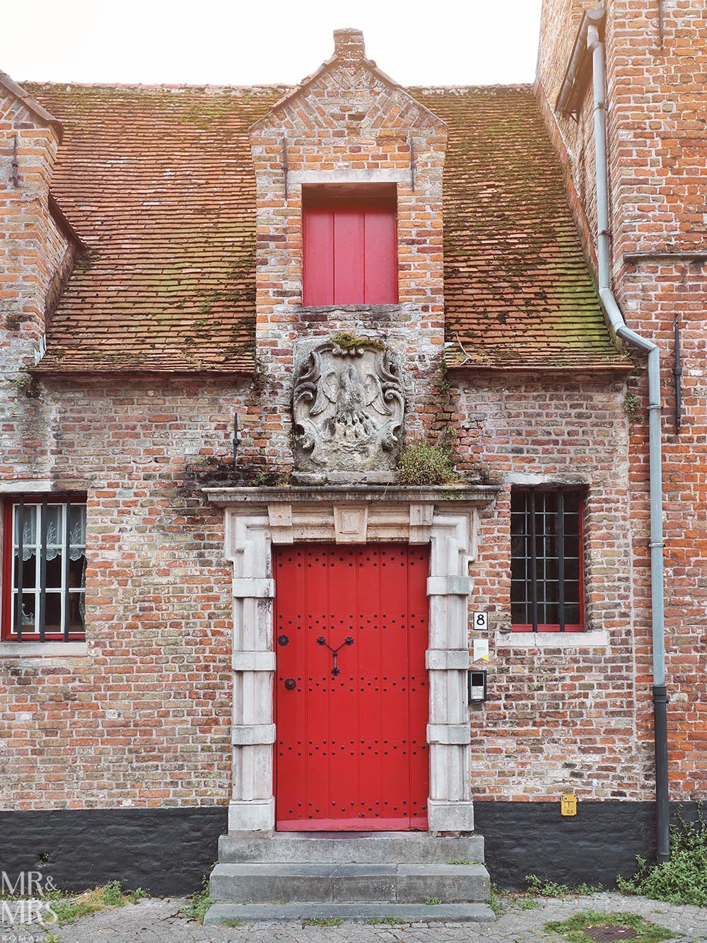Postcards from Bruges, Belgium - red door